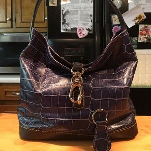D&B Blue/Black Reptile Design Hobo Bag & Key Fab